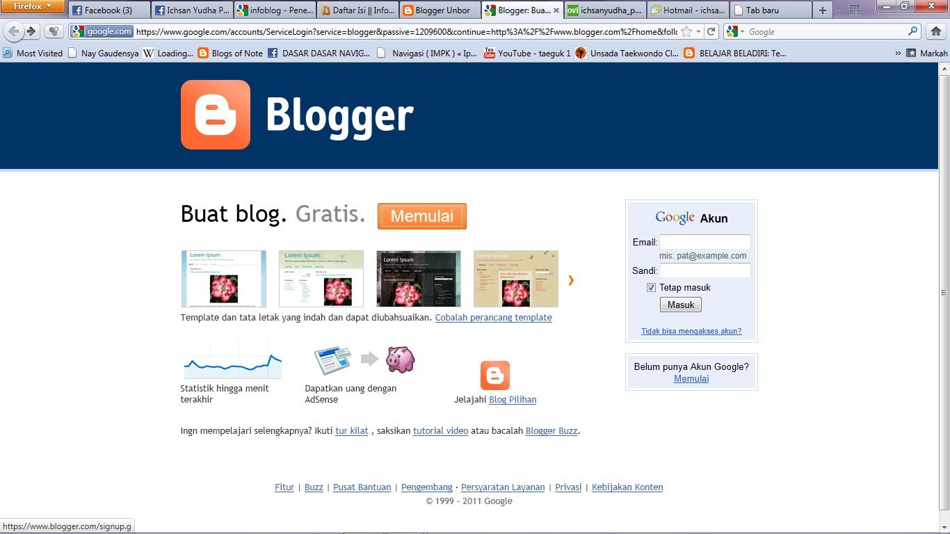 Pelajaran Blog 1 : Daftar Blog