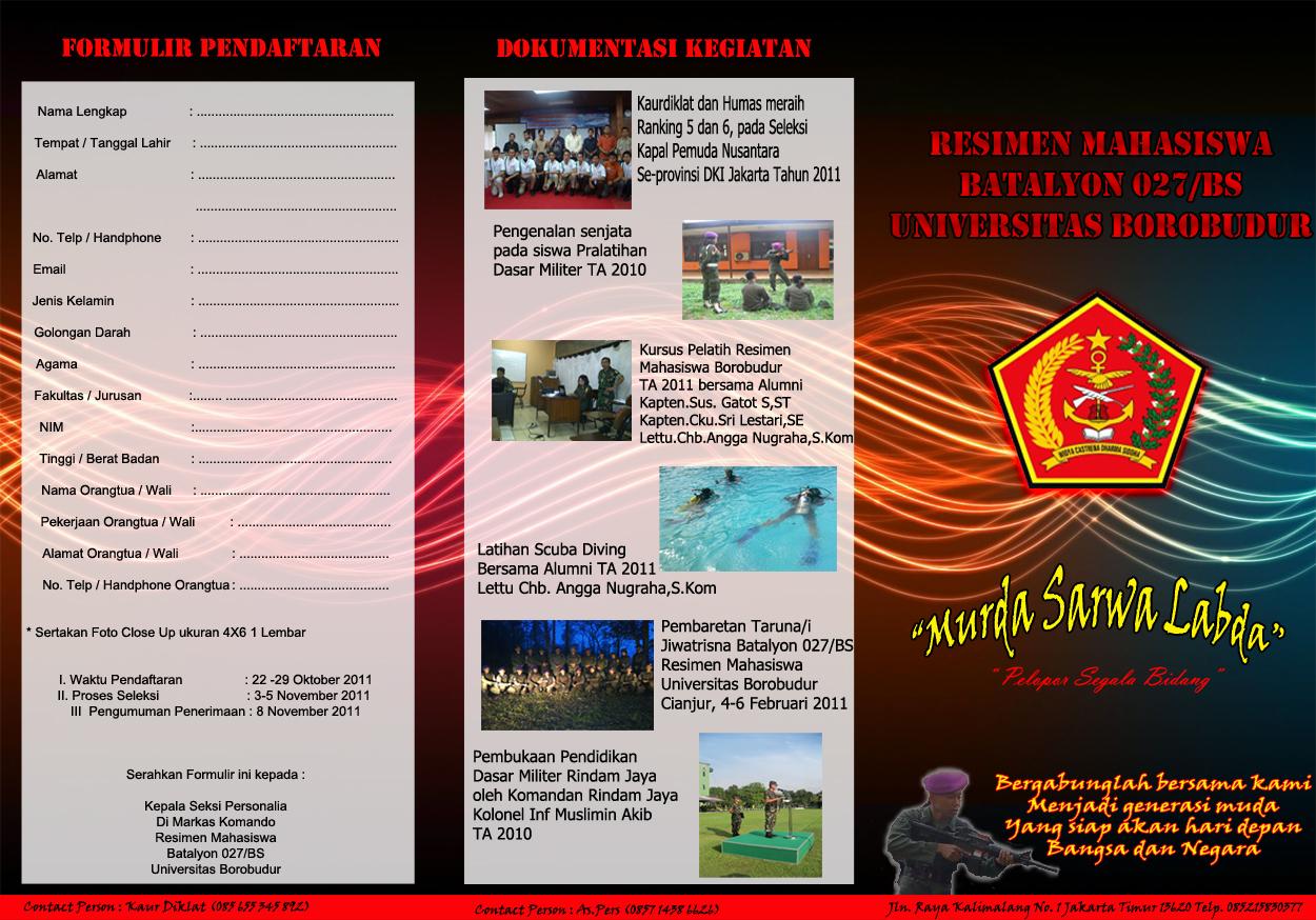 Brosur Penerimaan Taruna Resimen Mahasiswa Batalyon 027/BS Universitas Borobudur